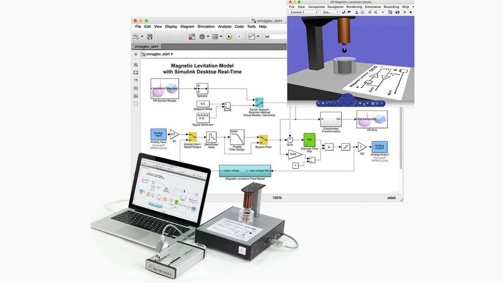 磁悬浮控制实验。模型使用 Analog Input 和 Analog Output 模块与外部硬件交互。
