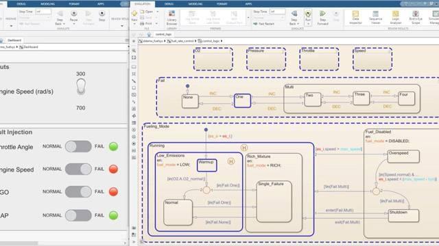逐步执行仿真并监视状态图中的数据。