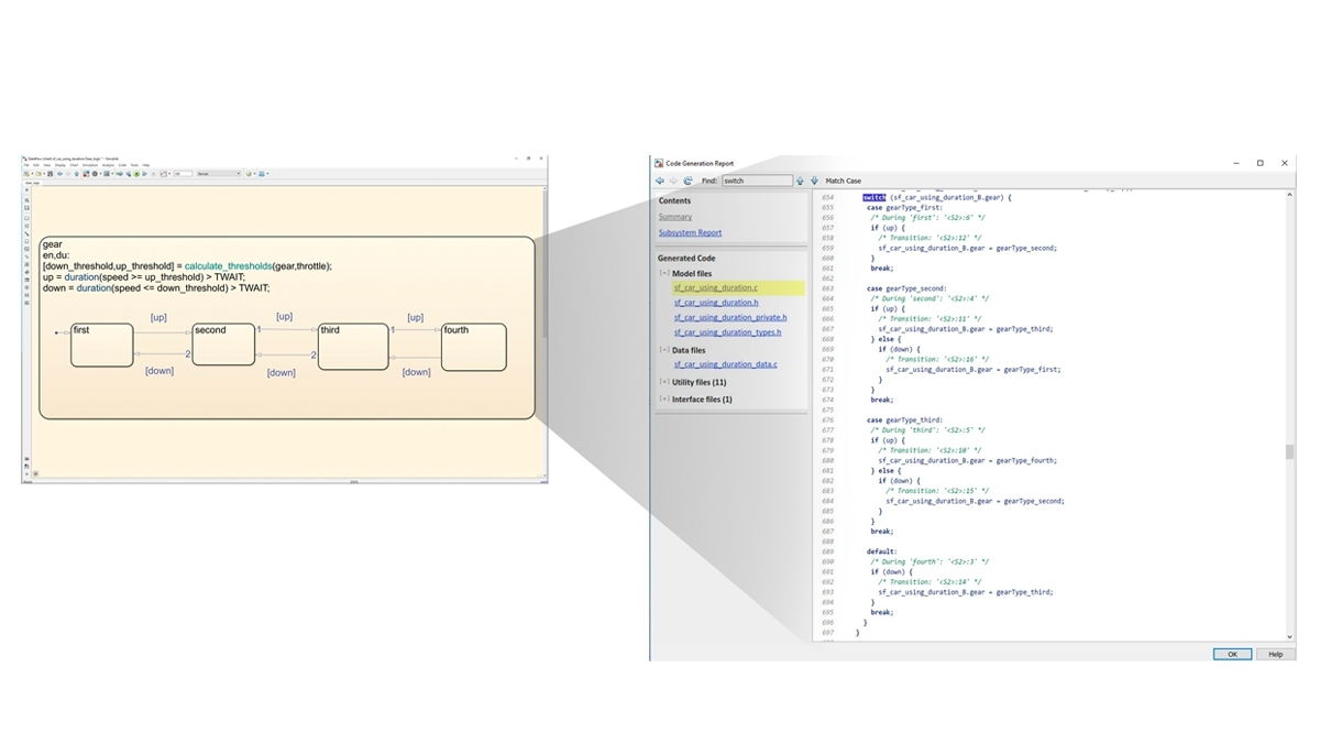 生成代码以实现 Stateflow 逻辑。
