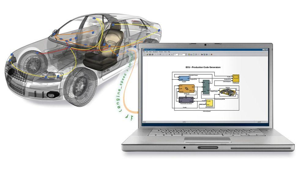 汽车连接到笔记本电脑,使用电脑从 MATLAB 和 Simulink 访问汽车总线数据。