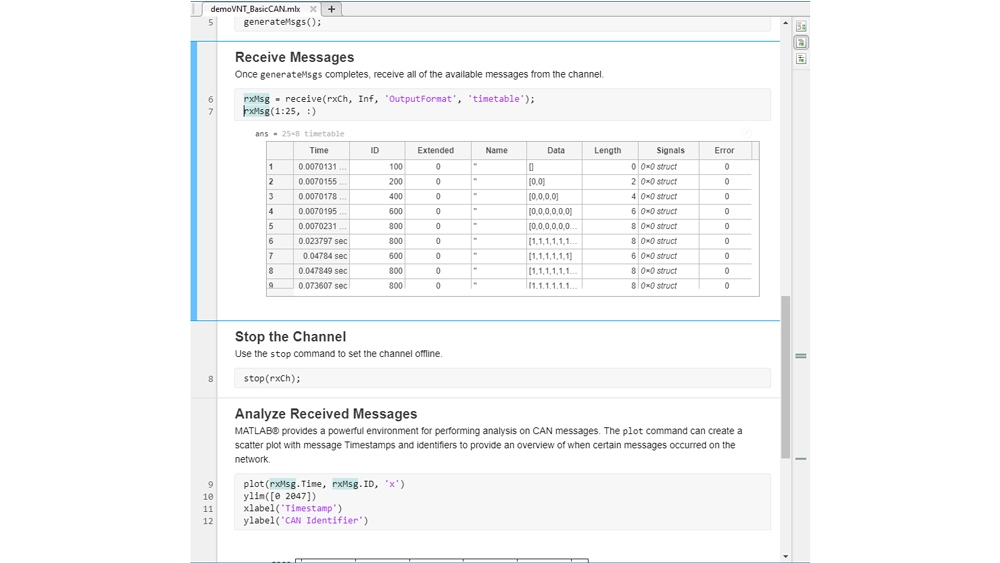 MATLAB 代码,以时间表格式接收 CAN 报文及其信号。
