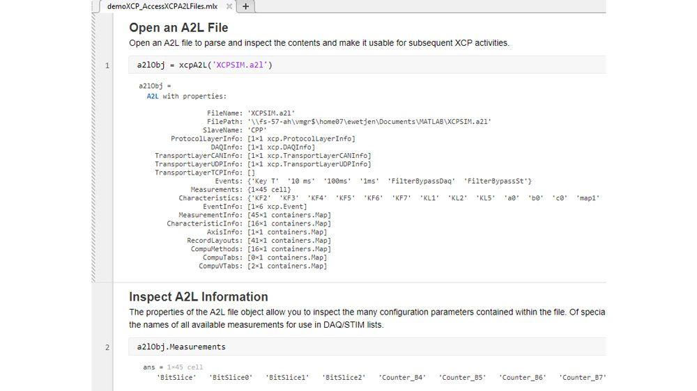 使用 MATLAB 函数解析和检查 A2L 文件。