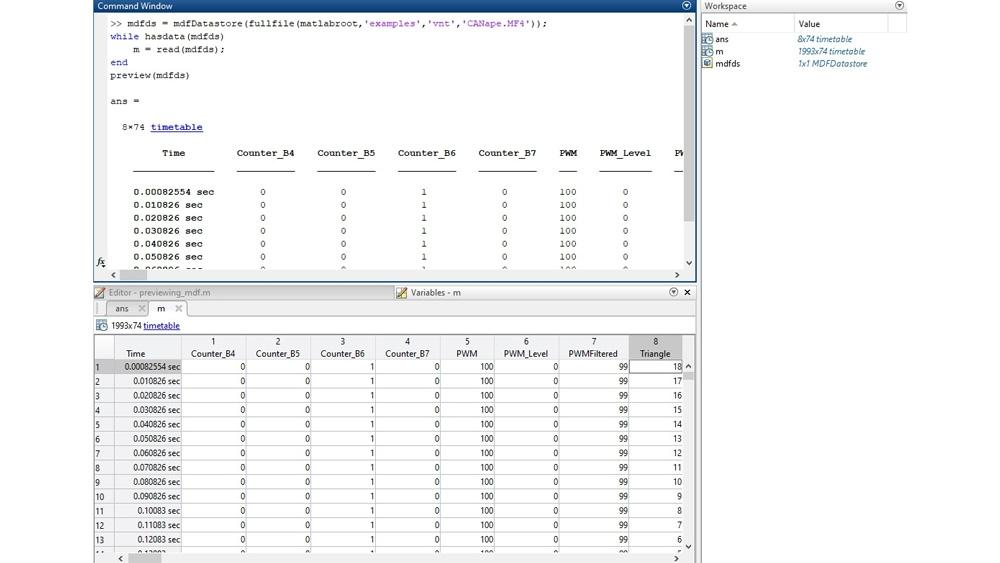代码示例,显示如何在命令行界面预览 MDF 文件,然后在变量编辑器中检查数据。