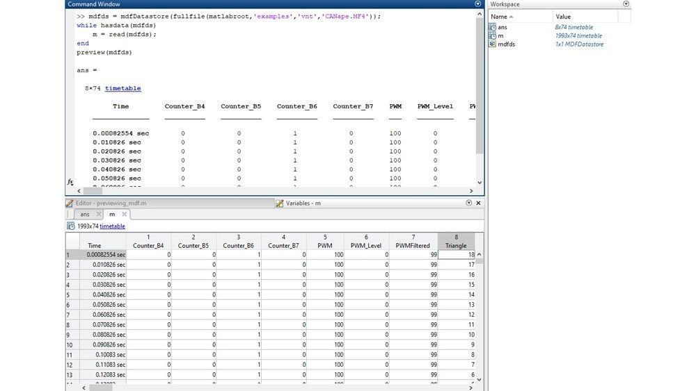 MATLAB 界面,用于检查 MDF 文件,提供了预览功能和变量编辑器。
