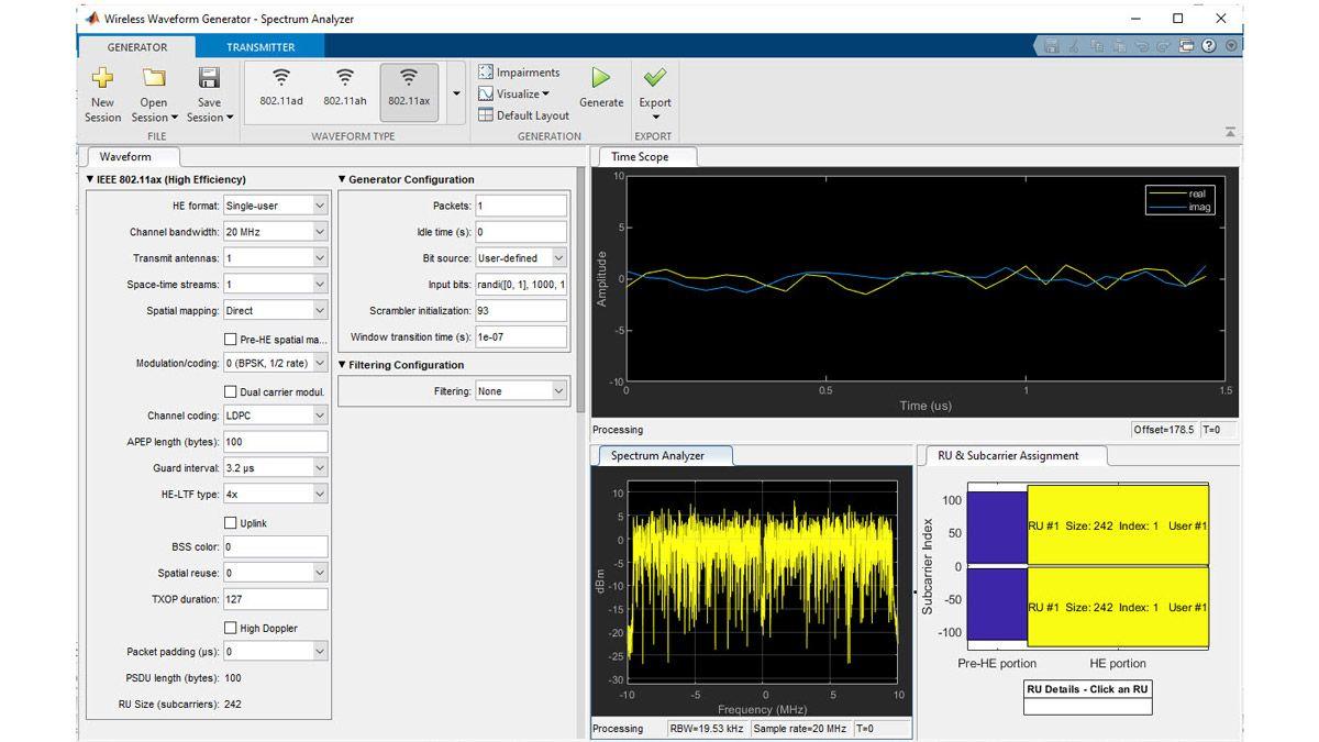 使用 Wireless Waveform Generator 应用生成 802.11ax 波形。