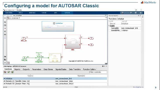 了解 Simulink 针对 AUTOSAR 的高级支持,包括 AUTOSAR Classic 和 Adaptive 软件应用建模、创建 AUTOSAR 软件架构、对 AUTOSAR 组合和 ECU 进行仿真,以及生成产品级 C/C++ 代码。