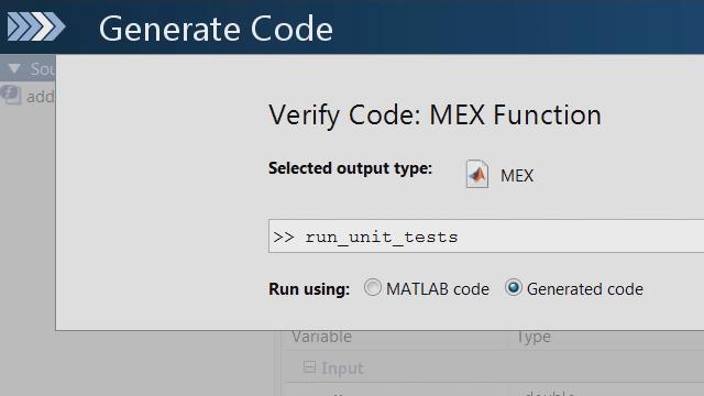 使用 MATLAB 单元测试框架,检查 MATLAB 代码的更改,是否导致 MATLAB Coder 生成的 C 代码中的任何单元测试失败。