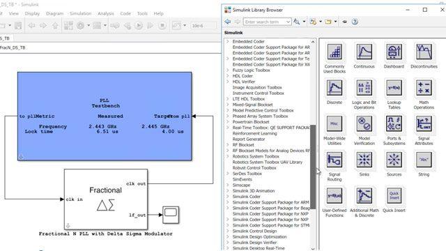 使用 Mixed-Signal Blockset 设计和仿真模拟和混合信号系统,例如 ADC 与 PLL。