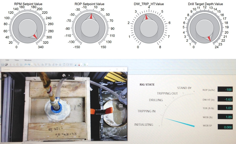在 Simulink Real-Time Explorer 中创建的钻探状态可视化和在 Simulink 中创建的手动控制装置。