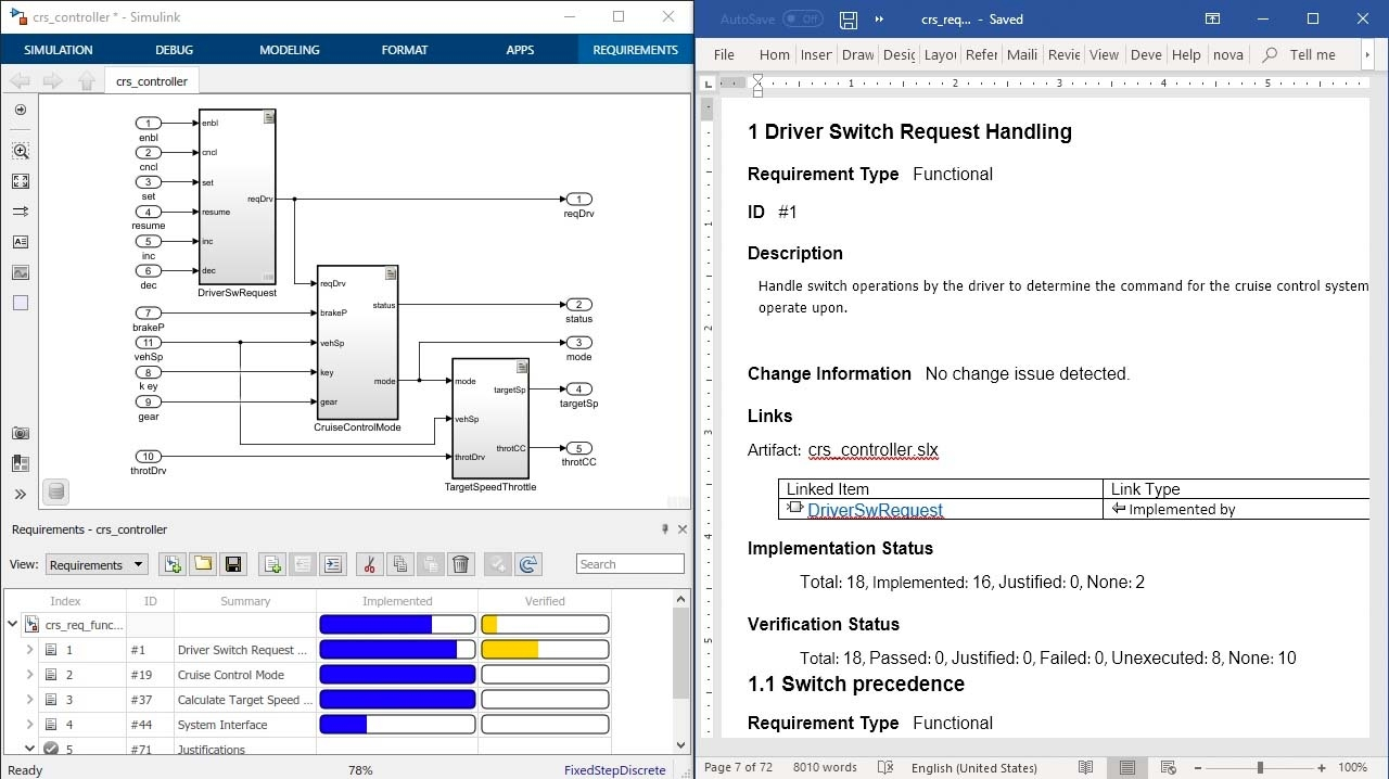 记录您的需求,以便利用 Simulink Requirements 产生的报告进行查看,并包括需求属性、状态以及对设计、代码和文本的可追溯性。