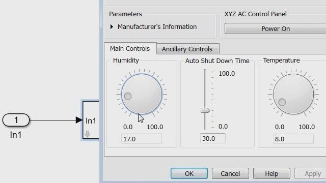 Create a mask dialog box using the Simulink Mask Editor.