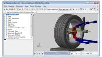 Import a CAD assembly to SimMechanics using SimMechanics Link. Add tire model and steering system, and automate toe and camber tests using MATLAB .