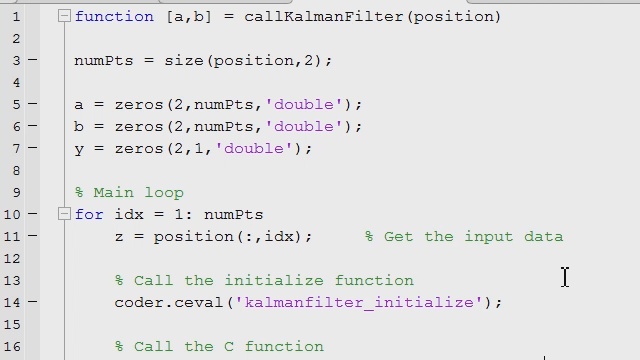 Run unit tests written in MATLAB on your hand written C code and check if changes to your C code results in any unit test failures. Use visualization and other tools available in MATLAB to understand how your code is behaving.